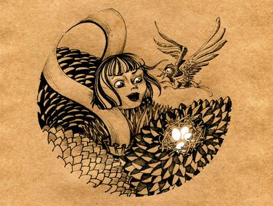 Алиса и птица графика illustration детскаяиллюстрация алиса