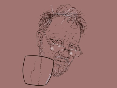 Tired self portrait with reading glasses lineart coffee procreate tired selfportrait