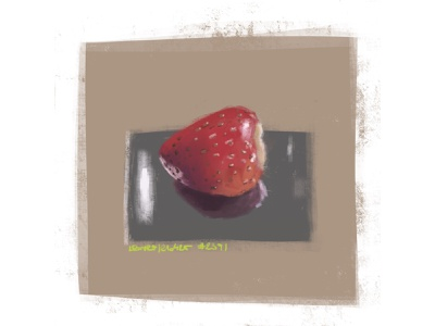 strawberry on a metallic plate, speedpaint painting fruit metallic strawberry digitalart speedpaint sketch coffee procreate