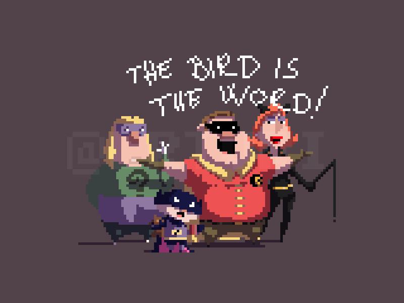 The bird is the word! pt 2 batman catwoman riddler robin pixelart pixel griffin fanart familyguy cosplay