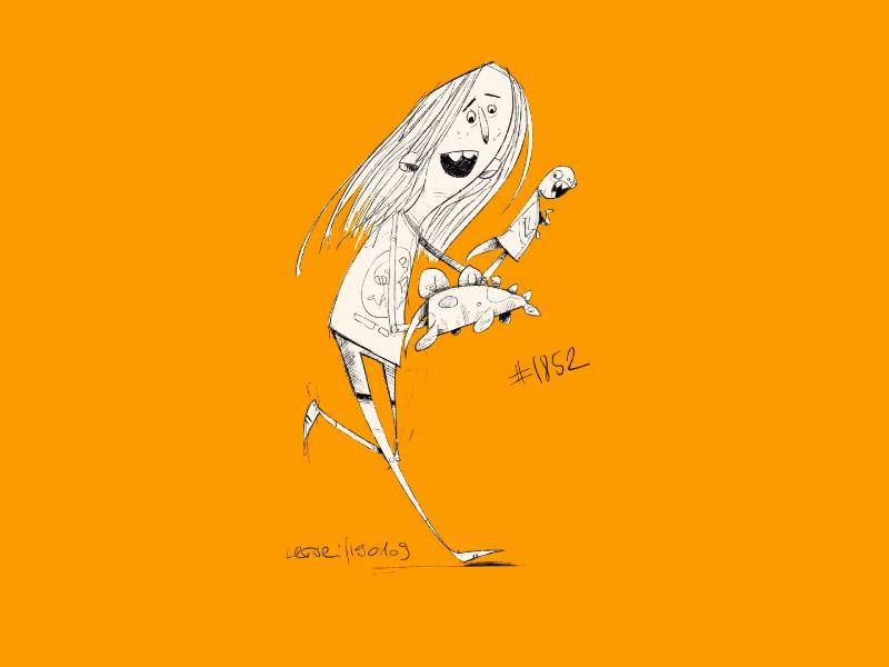 Coffee sketch No.1852 procreate coffeesketch girl dino jurassicworld characterdesign