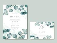 Romantic wedding invitation with eucalyptus leaves frame
