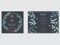 Romantic wedding invitation with leaves