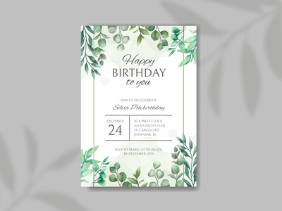 Happy birthday invitation with leaves frame