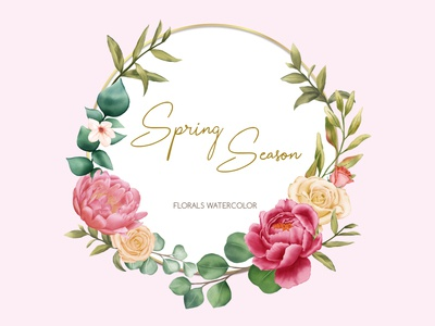 Spring season with florals watercolor ornament
