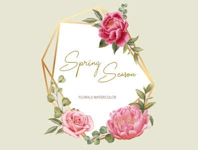 Golden frame spring season of wedding invitation template