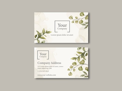 Elegant business card with leaves ornament