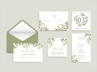 Beautiful wedding invitation template with leaves set bundle