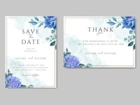 Wedding invitation with blue floral ornament and gold frame