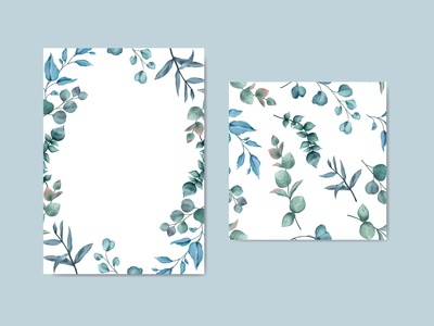 Watercolor leaves card and seamless bundle