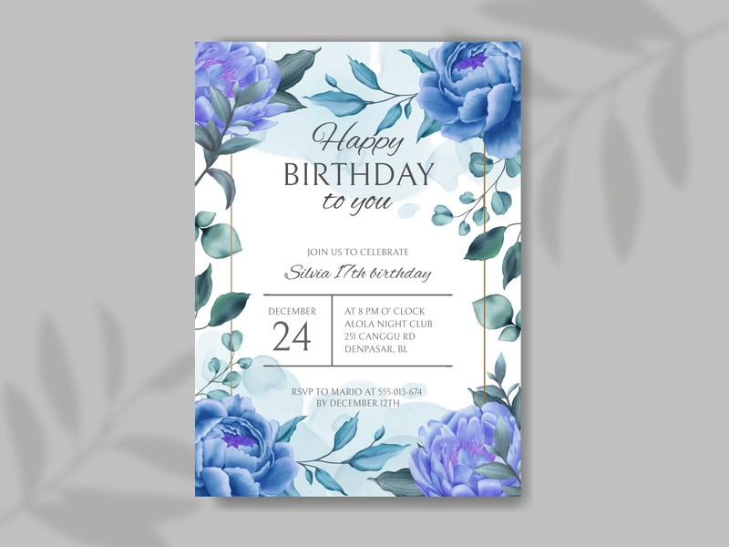 Happy birthday invitation with blue flower and leaf background
