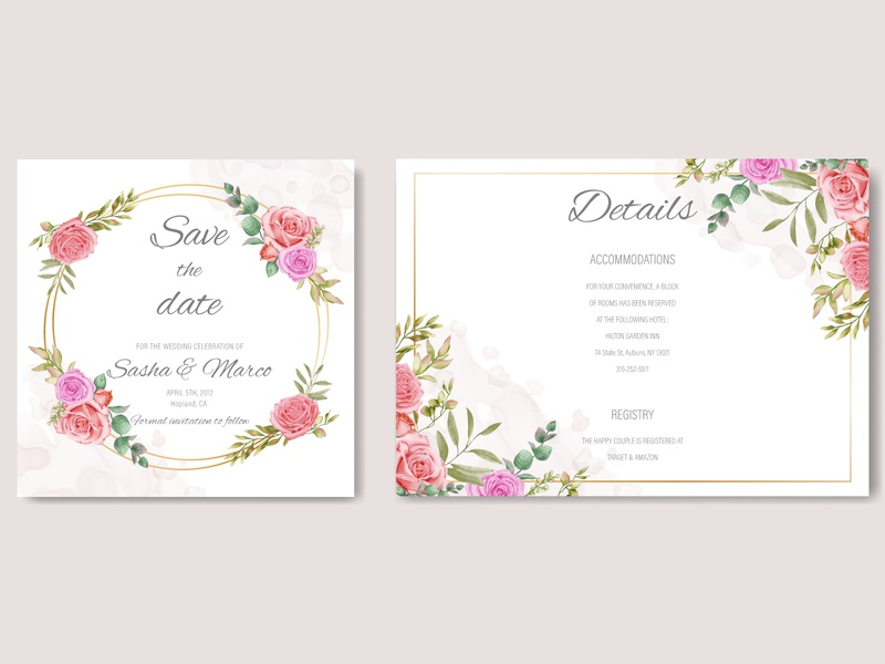 Romantic gold wedding invitation template with watercolor floral