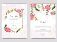 Elegant wedding invitation floral card with golden frame