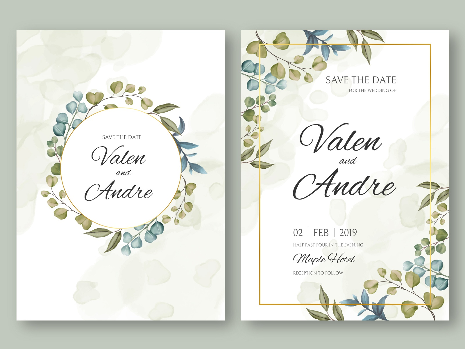 vintage wedding invitation card template with leaves background by dheo donny adittya on dribbble vintage wedding invitation card