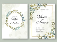 Vintage wedding invitation card template with leaves background