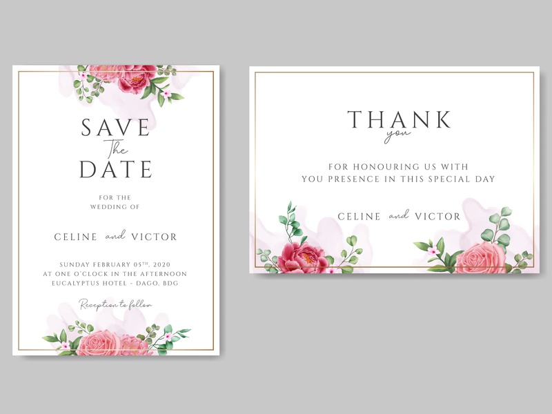Beautiful wedding invitation card template with flower and gold