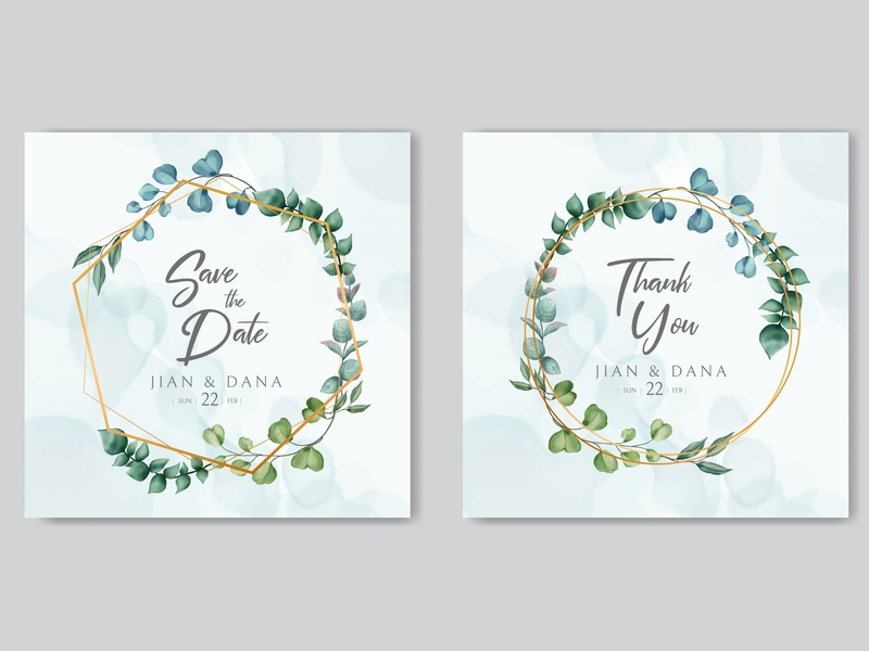 Wedding invitation template with watercolor floral on gold frame