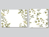 Beautiful wedding invitation card with leaves pattern seamless