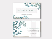 Business card or company card with watercolor leaves frame