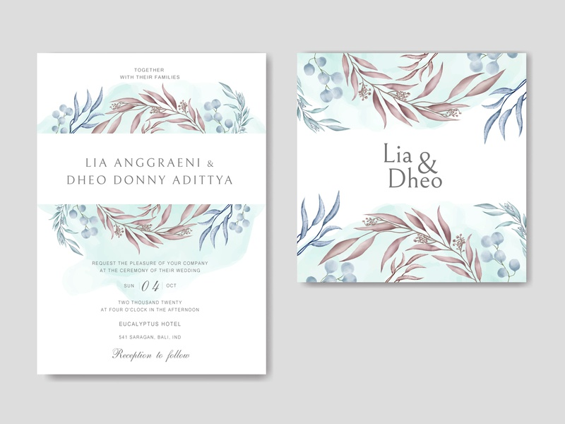 Beautiful wedding invitation card with colourful floral frame