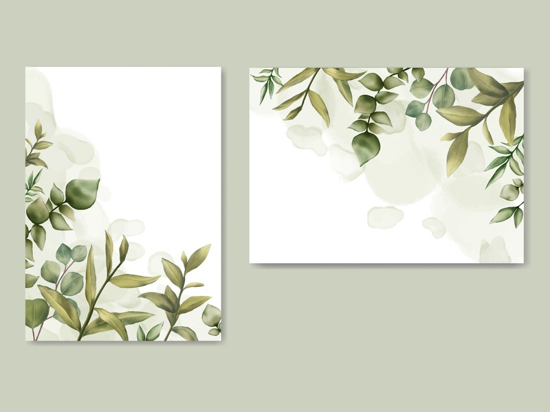Beautiful wedding invitation theme with leaves background