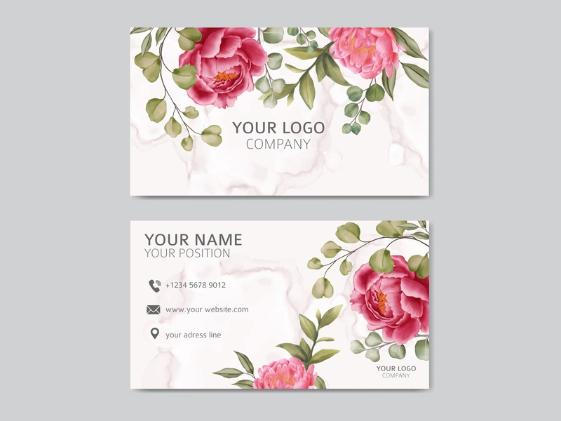 Watercolor floral on business card with abstract background