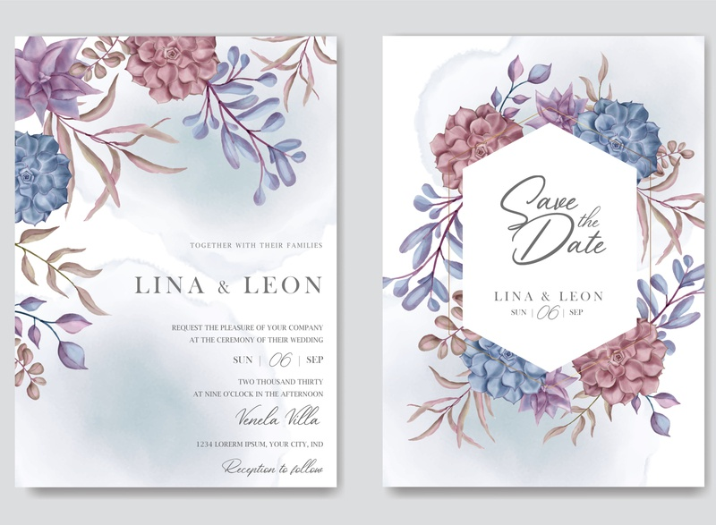 Beautiful wedding invitation card template with floral succulent