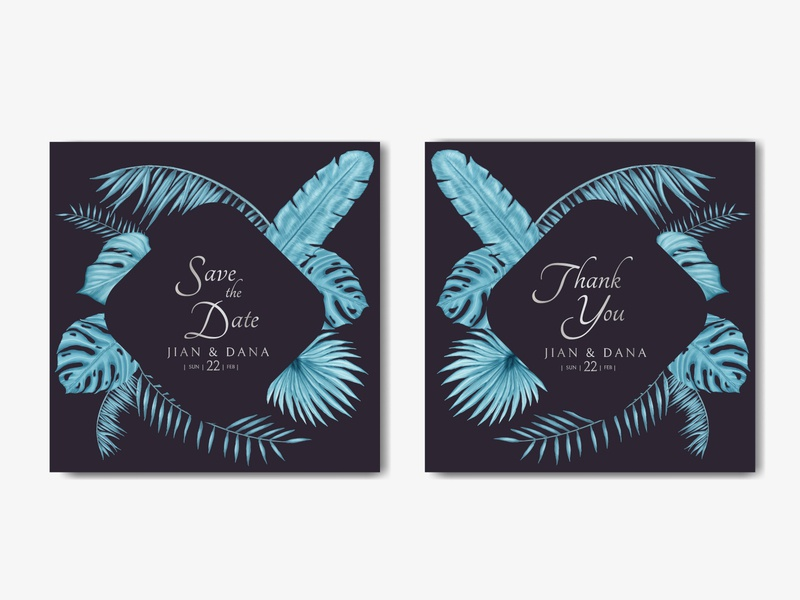 Beautiful wedding invitation card template with tropical leaves monstera leaves exotic tropical summer bouquet template love engagement mariage watercolor leaf flower background floral frame illustration invitation card wedding