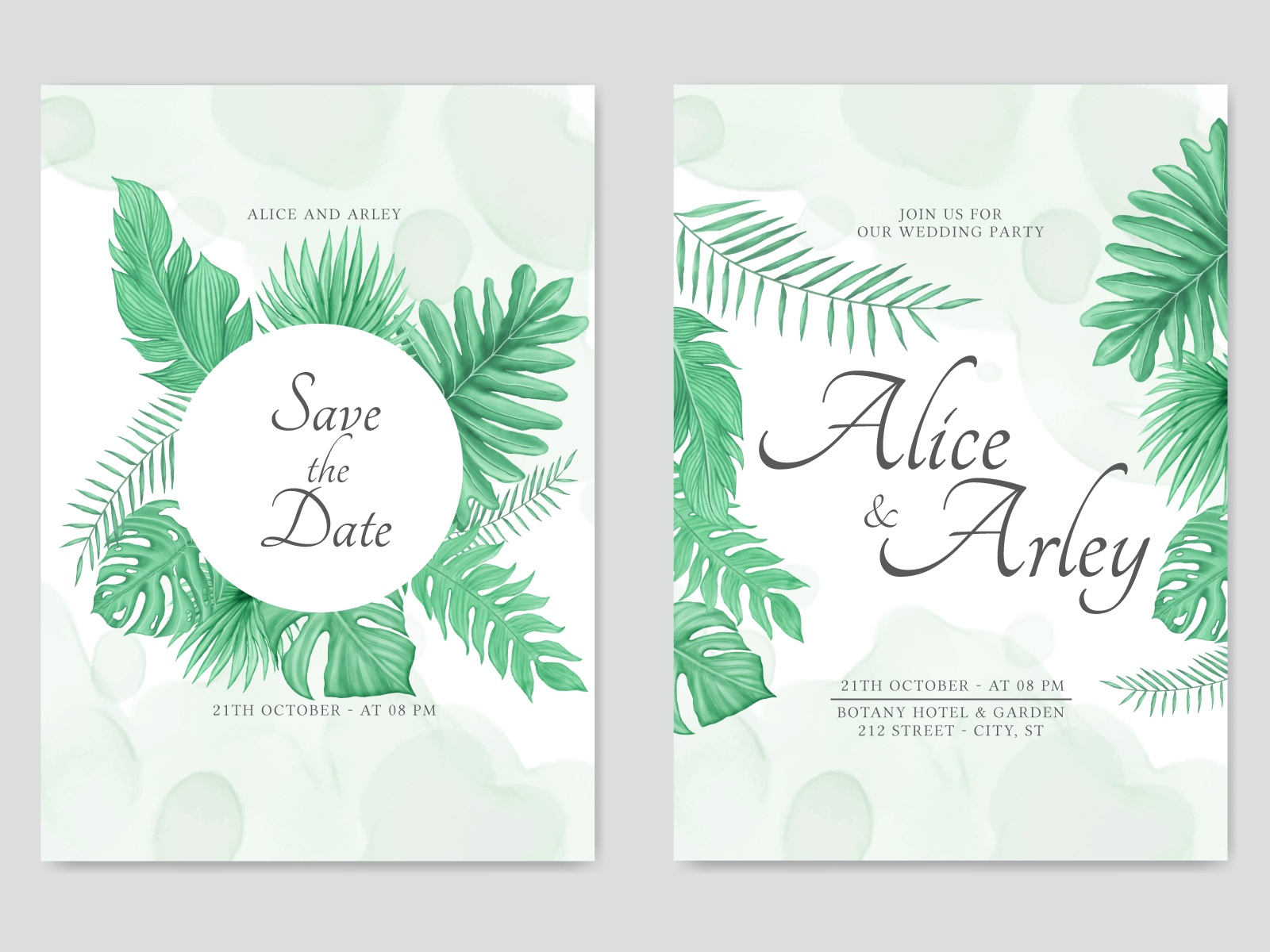 Summer Wedding Invitation Template With Tropical Leaves Theme By Dheo Donny Adittya On Dribbble To get more templates about posters,flyers,brochures,card,mockup,logo,video,sound,ppt,word,please visit pikbest.com. summer wedding invitation template with
