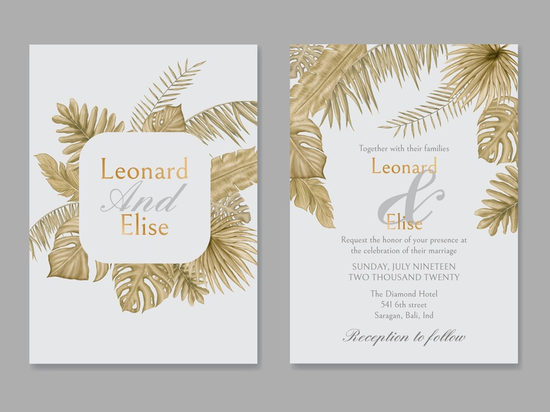 Watercolor tropical leaves ornament on wedding invitation card wedding watercolor tropical template summer monstera mariage love leaves leaf invitation illustration frame palm floral exotic engagement card plant background