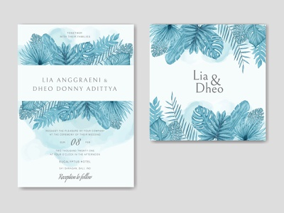 Beautiful wedding invitation card template with tropical leaves wedding watercolor tropical template summer monstera mariage love leaves leaf invitation illustration frame palm floral exotic engagement card plant background