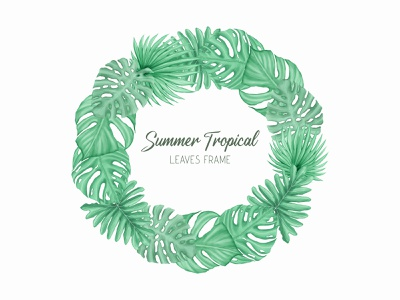 Summer tropical leaves frame with watercolor style wedding watercolor tropical template summer monstera holiday poster leaves leaf invitation illustration frame palm floral exotic wallpaper card plant background