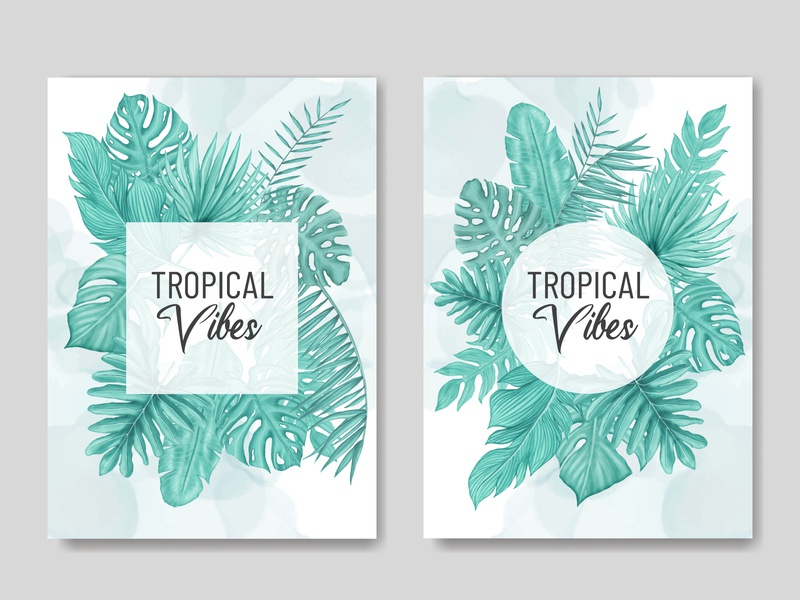 Tropical vibes floral watercolor frame cover cover wedding watercolor tropical template summer monstera holiday poster leaves leaf invitation illustration frame palm floral exotic wallpaper plant background