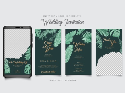 Instagram stories template for wedding invitation tropical leaf wedding watercolor tropical template summer monstera leaves leaf invitation illustration frame floral plant background photo share instagram stories social media swipe up instagram
