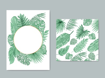 Natural background with tropical leaves seamless pattern cover wedding watercolor tropical template summer monstera holiday poster leaves leaf invitation illustration frame palm floral exotic wallpaper plant background