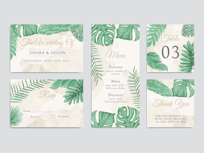 Wedding invitation card template set with tropical floral bundle marriage stationery engagement leaves tropical summer save the date plant watercolor party leaf background frame template floral invitation illustration design card wedding