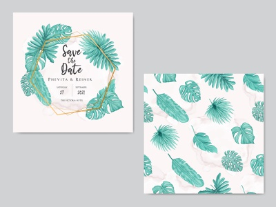 Wedding invitation card with tropical leaves seamless pattern marriage engagement pattern seamless wedding watercolor tropical template summer stationery save the date plant leaves leaf invitation illustration floral design card background