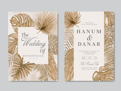 Vintage Wedding Invitation Card With Tropical Leaves Background By Dheo Donny Adittya On Dribbble Seamless pattern with tropical palm leaves. vintage wedding invitation card with