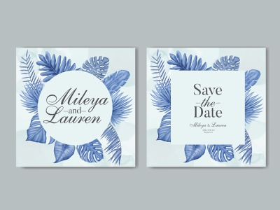 Blue watercolor tropical leaves wedding invitation card template wedding watercolor tropical template summer stationery save the date plant party marriage leaves leaf invitation illustration frame floral engagement design card background