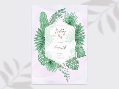 Happy birthday party invitation card with tropical leaves frame watercolor floral happy birthday birth confetti festive event banner template gift poster holiday anniversary background card party celebration greeting birthday invitation