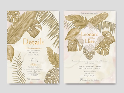 Watercolor tropical floral wedding invitation template wedding watercolor tropical template summer stationery save the date plant party marriage leaves leaf invitation illustration frame floral engagement design card background