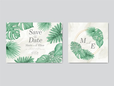 Tropical leaves frame wedding invitation card template bundle holiday wedding watercolor tropical template summer stationery save the date party marriage leaves leaf invitation illustration frame floral engagement design card background