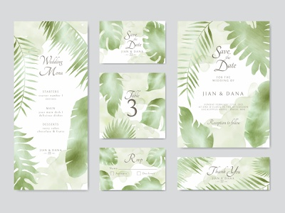Watercolor abstract floral wedding invitation template bundle texture abstract bundle wedding watercolor tropical template summer stationery save the date party marriage leaves leaf invitation illustration floral engagement card background