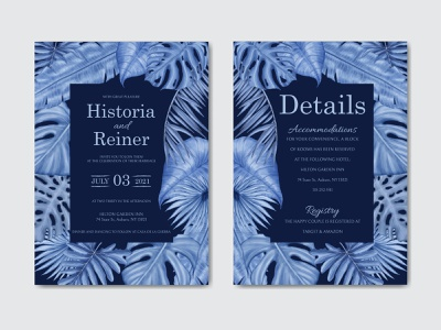 Romantic wedding invitation template with tropical blue leaves art love romantic wedding watercolor tropical template summer stationery save the date party marriage leaves leaf invitation illustration floral engagement card background