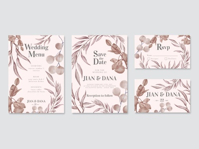 Beautiful watercolor leaf wedding invitation template pack menu rsvp pack hand drawn template save the date love celebrate engagement marriage watercolor leaf flower background floral frame illustration invitation card wedding