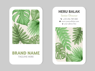 Tropical summer leaves business card template template frame leaf illustration card floral watercolor background corporate company card brand business card