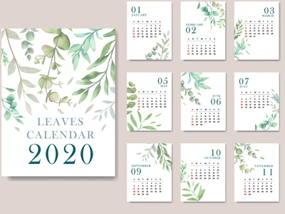 2020 calendar with floral frame
