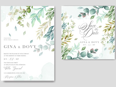 Vintage wedding invitation card with leaves bundle