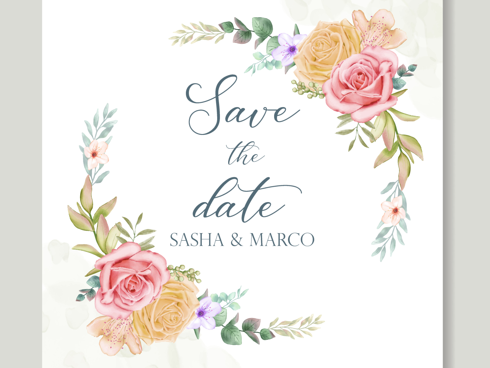 Wedding Invitation Card With Colourful Floral Leaves By Dheo