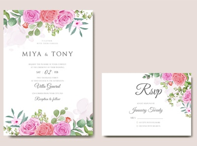 Wedding invitation card with colourful floral leaves